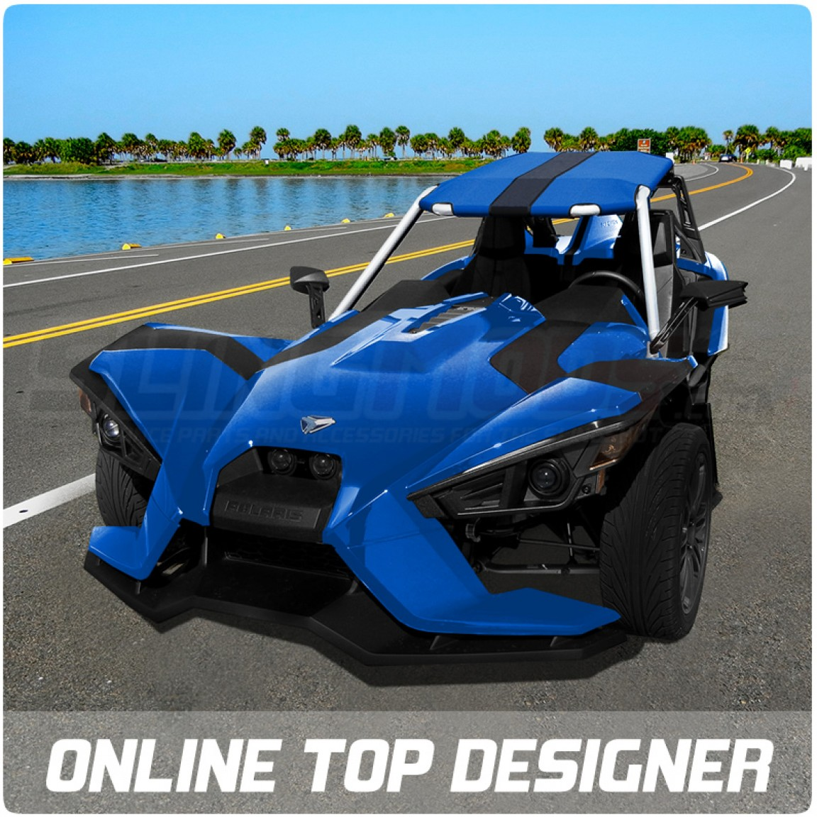 Polaris slingshot v back roof top by bullet speed and Custom car designer online