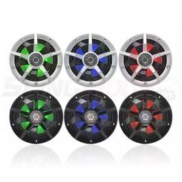 "Clarion CM Series 6.5"" RGB LED Marine Coaxial Speakers w/ Carbon Fiber Spokes (Pair)"