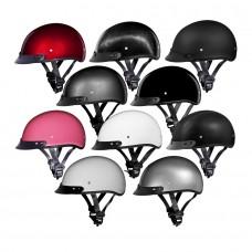 Daytona 1/2 Shell Skull Cap Beanie Helmet with Removable Sun Visor (DOT Approved)