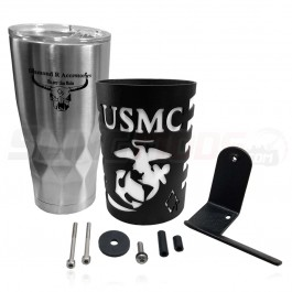 **CLOSEOUT** Diamond R USMC Mug Holder with 20 oz. Stainless Steel Mug for the Can-am Spyder RT / F3