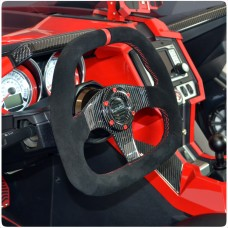 NRG (ST-019CF) Suede Flat Bottom Carbon Fiber Steering Wheel for the Polaris Slingshot