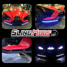 TricLED Front Splitters with inlaid LED Fog Lights for the Polaris Slingshot