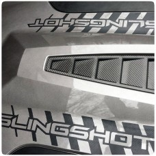 Precut Reversed Strobed Vinyl Hood Decals with Custom Text Field for the Polaris Slingshot (Pair)