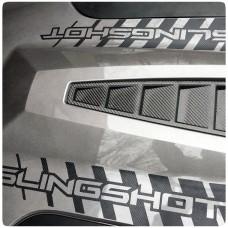 Slingfx Precut Reversed Strobed Vinyl Hood Decals with Custom Text Field for the Polaris Slingshot (Pair)