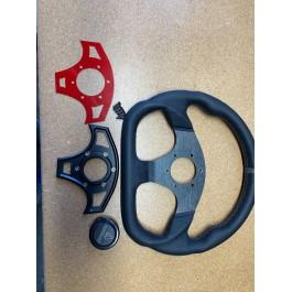 Returned - Assault Industries Ballistic D-Shape Steering Wheels for the Polaris Slingshot (Ver 2.0) (2015-19) Red Accent Plate