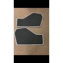 Returned / New - Carbon Fiber Black & Silver Status Custom Upholstered Transmission Tunnel Covers for the Polaris Slingshot (Pair)
