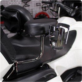 Show Chrome Passenger Cup Holder for use with our Can-Am Spyder RT / F3 Passenger Armrest Kits