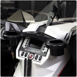SlingLines Dash Mounted Dual Cup Holders with Sun Visor for the Polaris Slingshot