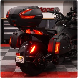 3-Piece Touring Saddlebag & Top Case Luggage System with LED Running, Brake & Turn Signals for the Can-Am Spyder F3 / F3s