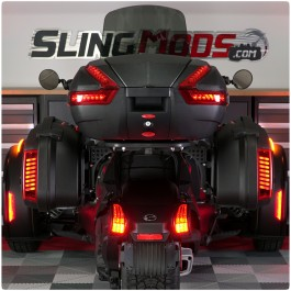 3-Piece Touring Saddlebag & Top Case Luggage System with LED Running, Brake & Turn Signals for the Can-Am Ryker