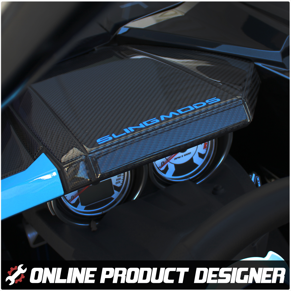Tufskinz Dashboard Cover with Optional Text Field for the Polaris Slingshot (Ver 2.0) (16 Piece Kit)