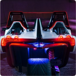 Etched Customizable Illuminated WindRestrictor® Brand Rear Wind Deflector for the Polaris Slingshot