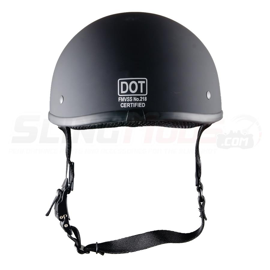 Black Fiberglass Beanie Motorcycle Helmet Dot Approved