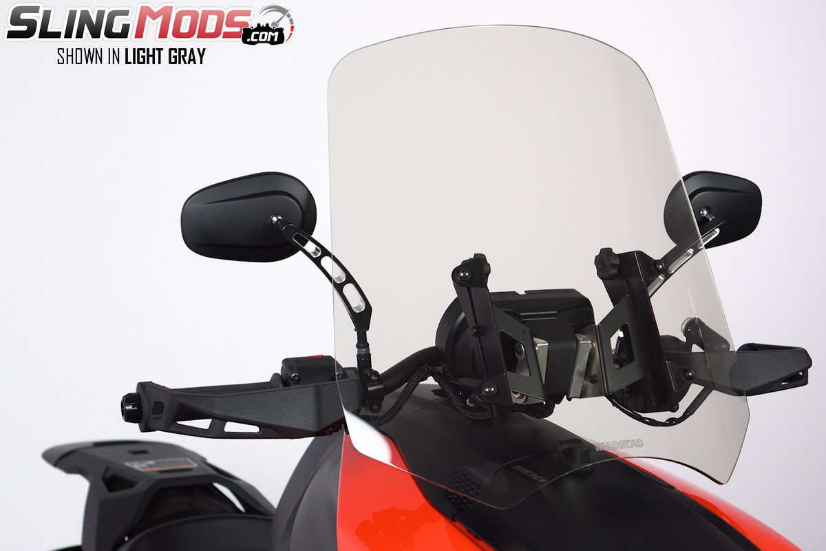 All Years Compatible Can-Am Spyder F3 20, Light Gray Adjustable Motorcycle Windshield System by Madstad Engineering