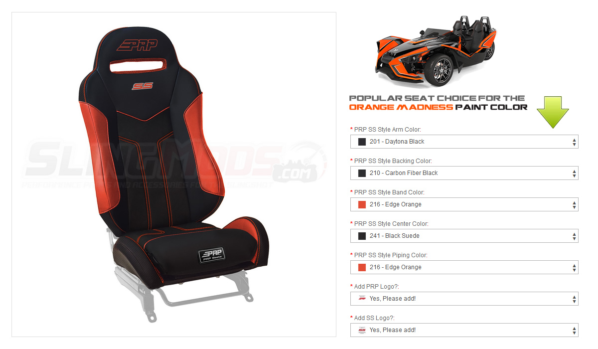 ... PRP SS Style Suspension Seats for the Polaris Slingshot (Pair) ...