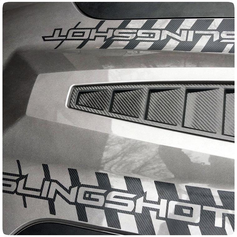 custom reverse strobed vinyl hood graphics kit for the polaris slingshot