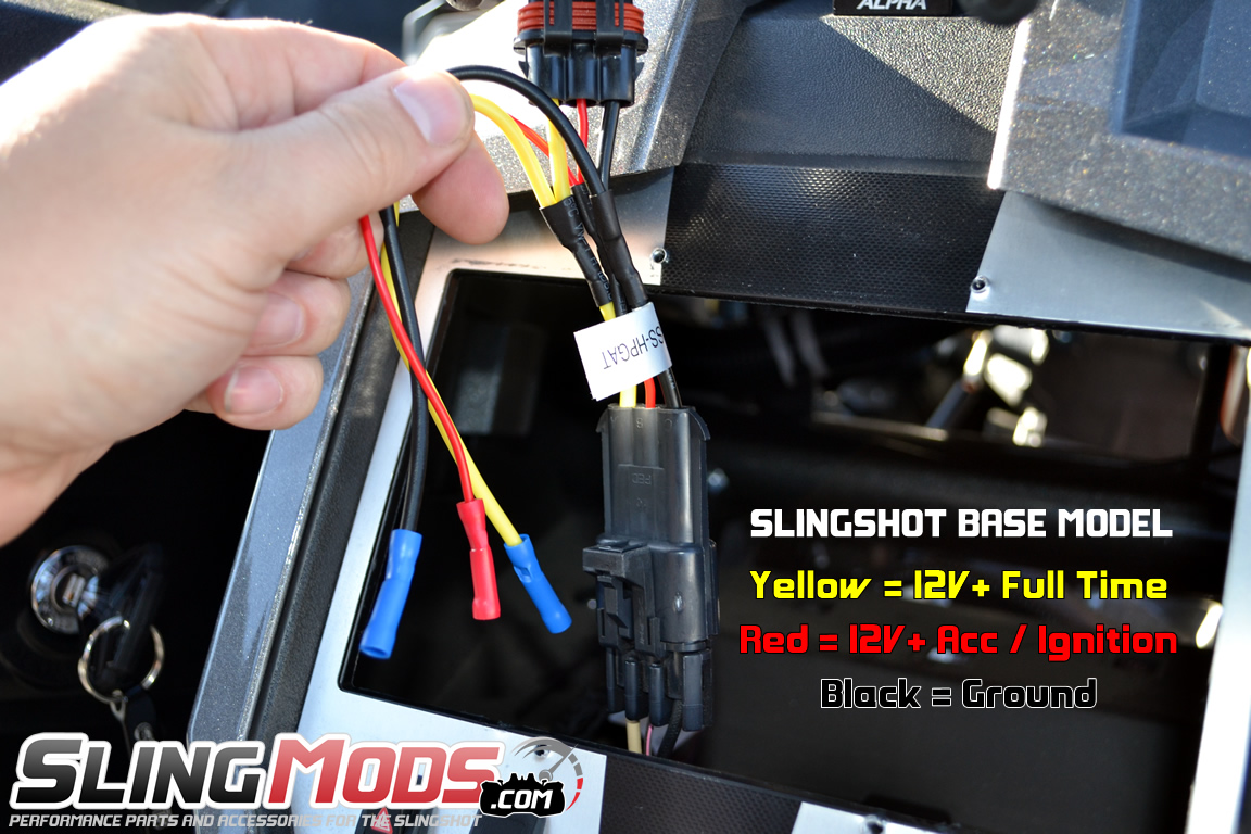 polaris slingshot aftermarket stereo wiring harness with oem backupscosche aftermarket stereo power harness with oem backup camera integration for the polaris slingshot (2015