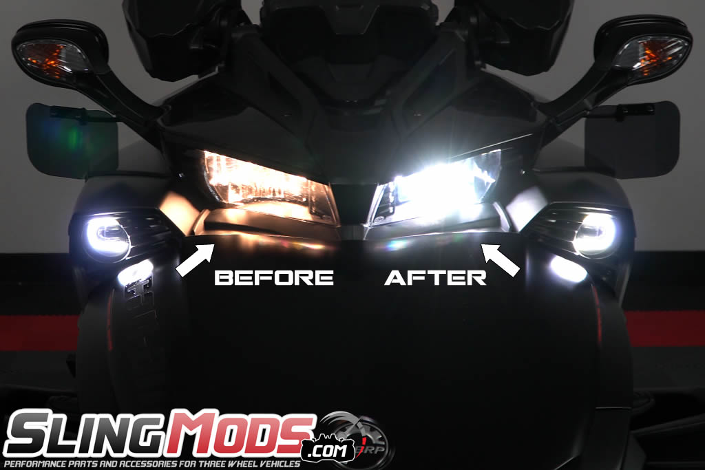 LED Headlight Hi//Lo Bulbs Conversion Kit for the Can-Am Spyder F3 F3-S 6000K 2PC