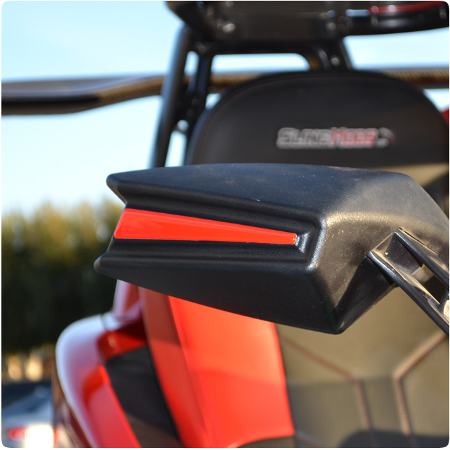 Tufskinz peel stick side view mirror rear accent strips for the polaris slingshot pair